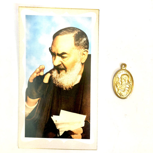St Pio Prayer Card & Medal