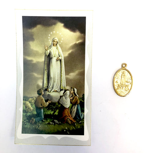 Our Lady of Fatima Prayer Card & Medal