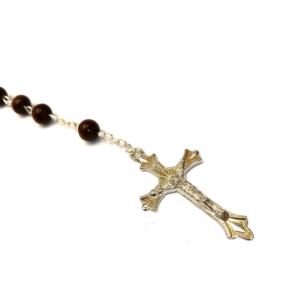 Brown Wooden Bead Rosary