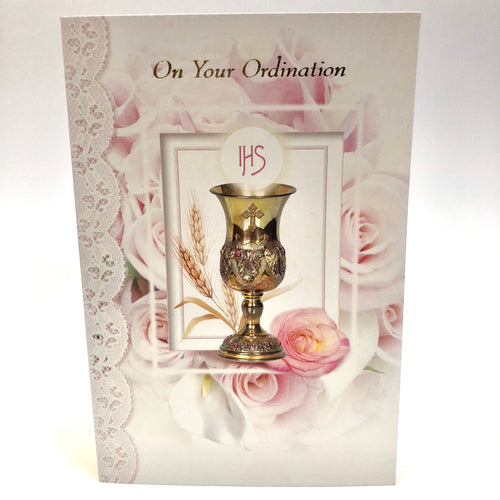 Ordination Pink Rose Card