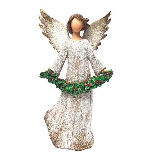 Wooden Angel with Holly