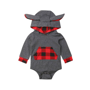Bunny Plaid Long Sleeve Hooded Sweater