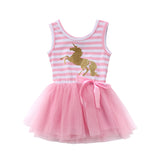 Glitter Unicorn Pink Striped Tutu Tulle Dress - Dresses - baby-petite
