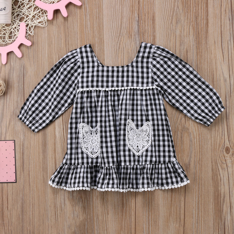 Black Plaid Stacy Lace Dress - Kids Petite - Baby & Kids Clothing