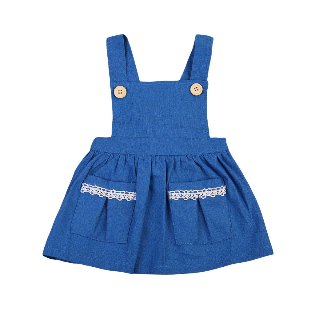 Summer Blue Button Denim Dress - Dresses - baby-petite