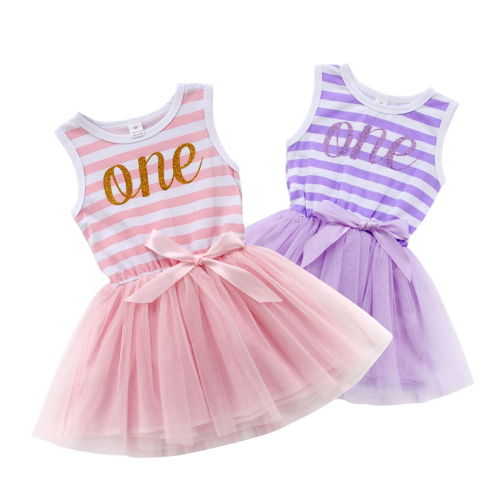 One Striped Bow Tie Tulle Dress - Dresses - baby-petite
