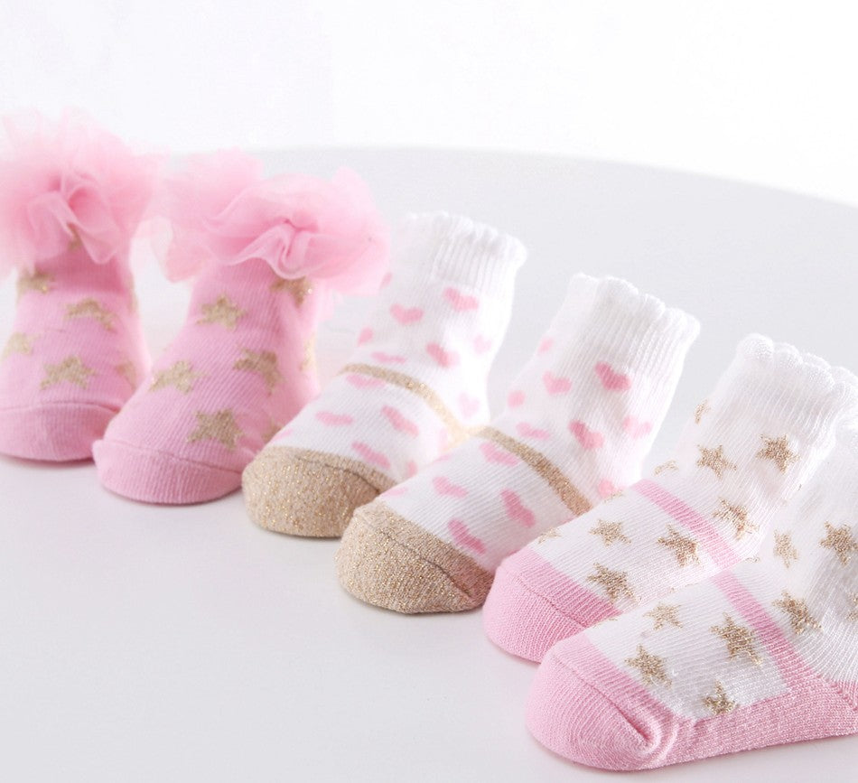 Baby Girl Pinky Pattern Socks Set (5 Pair Set) - Socks - baby-petite