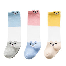 Bear Color Block Knee High Socks