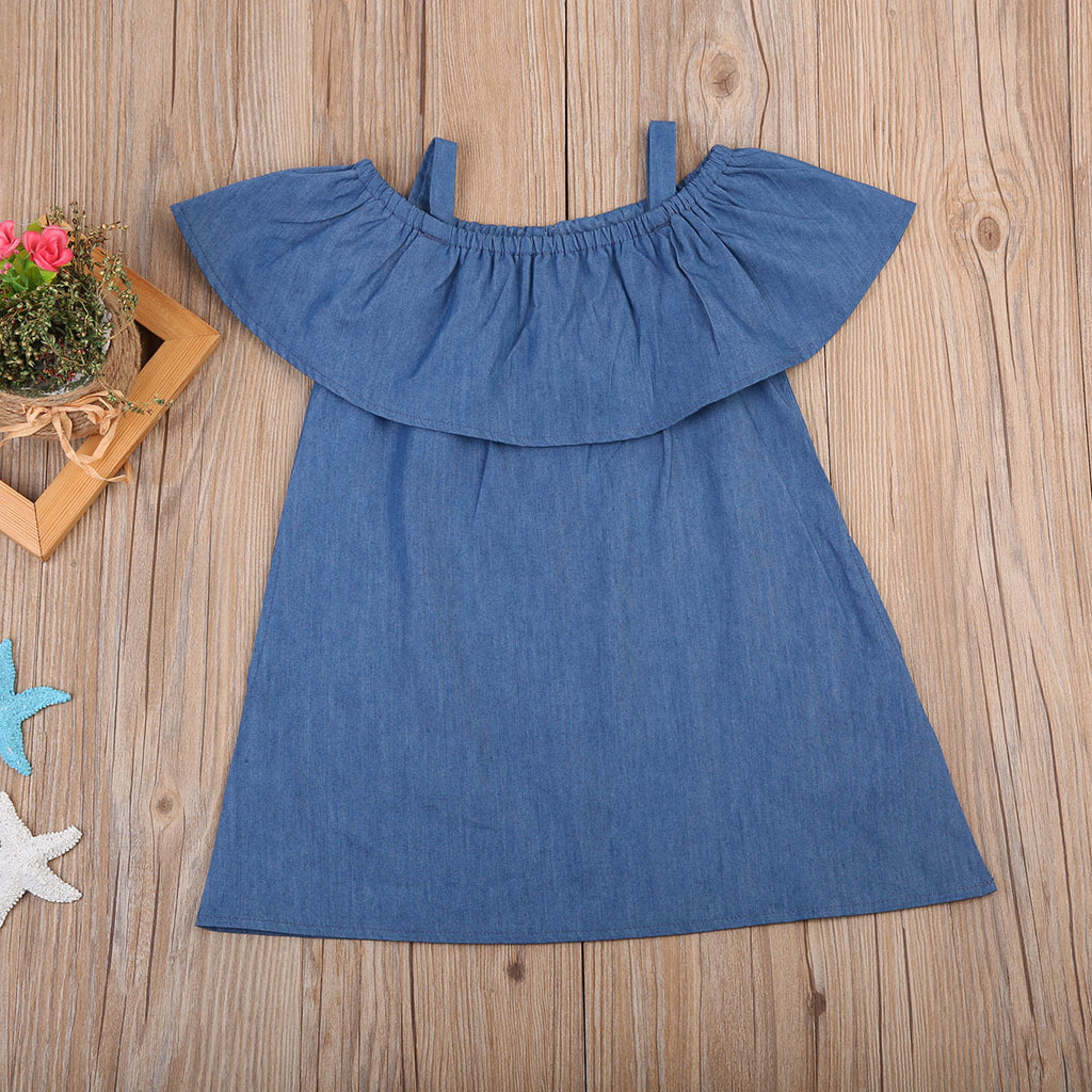 Denim Flare Off Shoulder Dress - Dresses - baby-petite