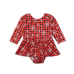 Shiny Plaid Snowflake Long Sleeve Romper