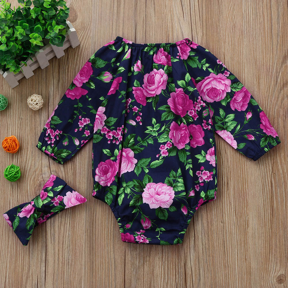 Delicate Lush Rose Floral Romper - Rompers - baby-petite