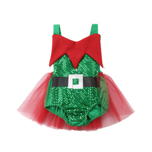 Glitter Elf Red Tulle Romper