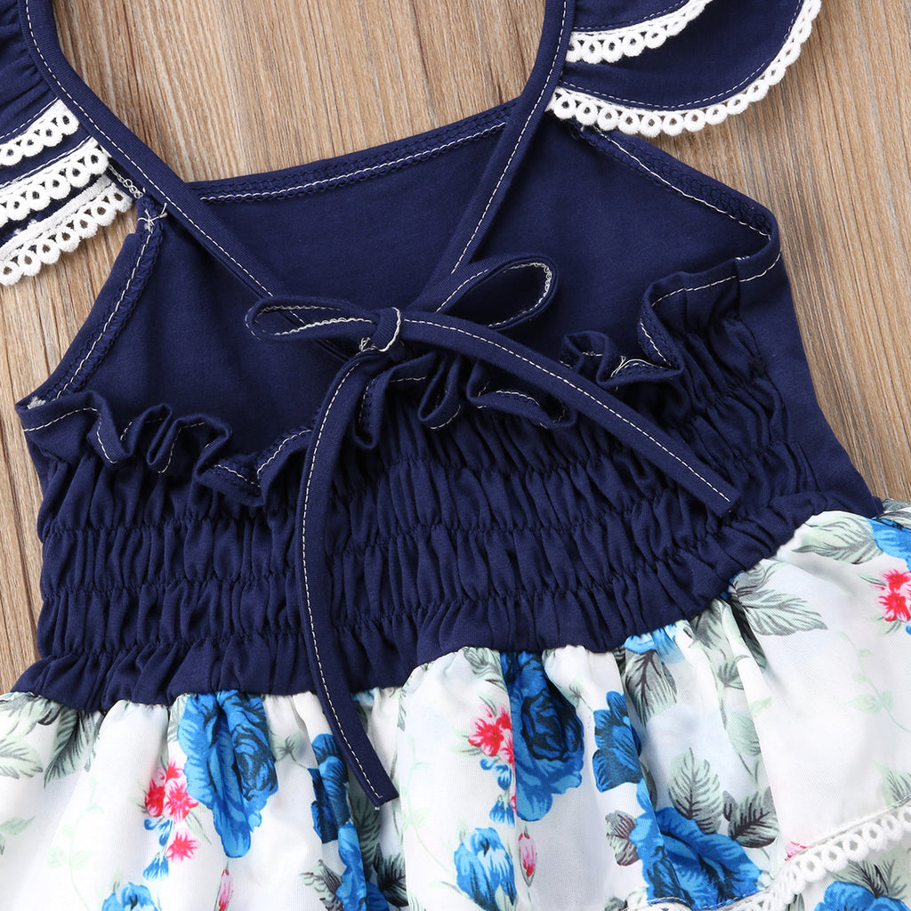 Olivia Navy Blue Lace Floral Nautical Dress - Dresses - baby-petite