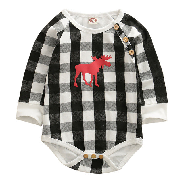 Penny Plaid Moose Romper