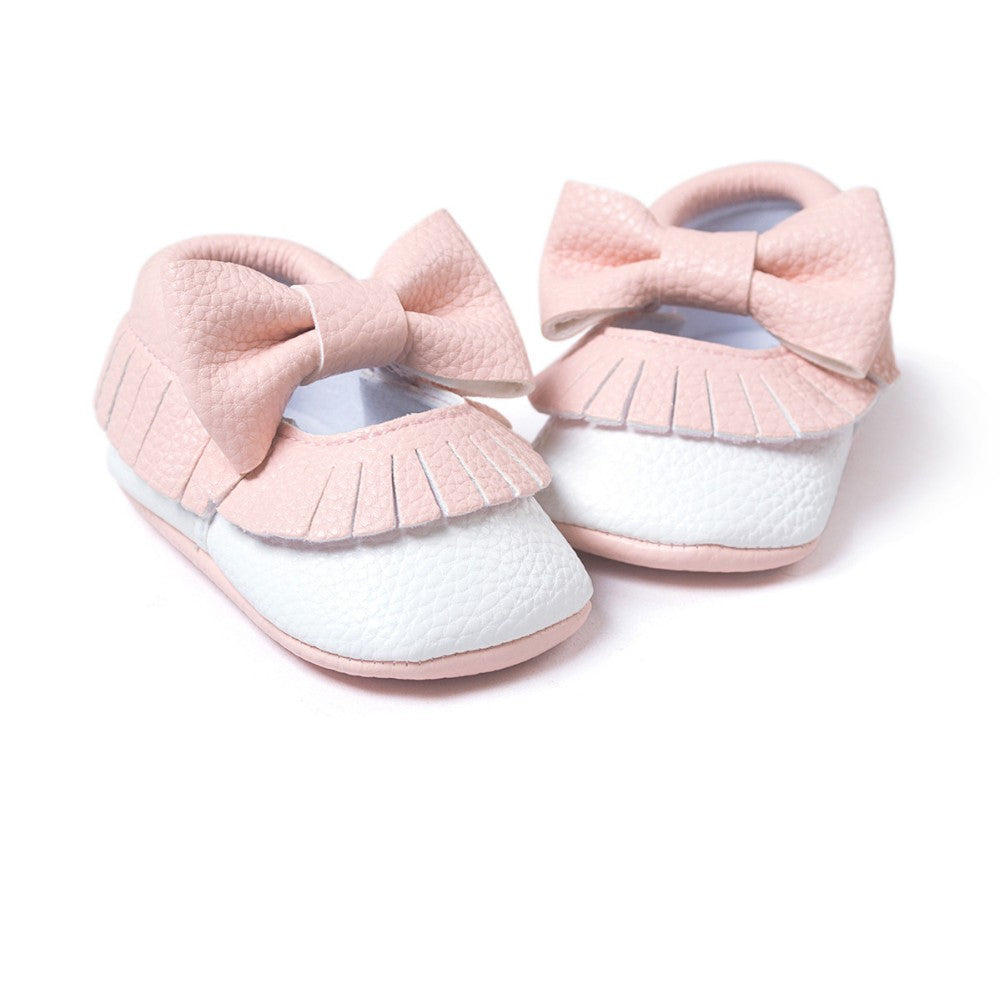 Big Bow Fringe Slip On Shoes