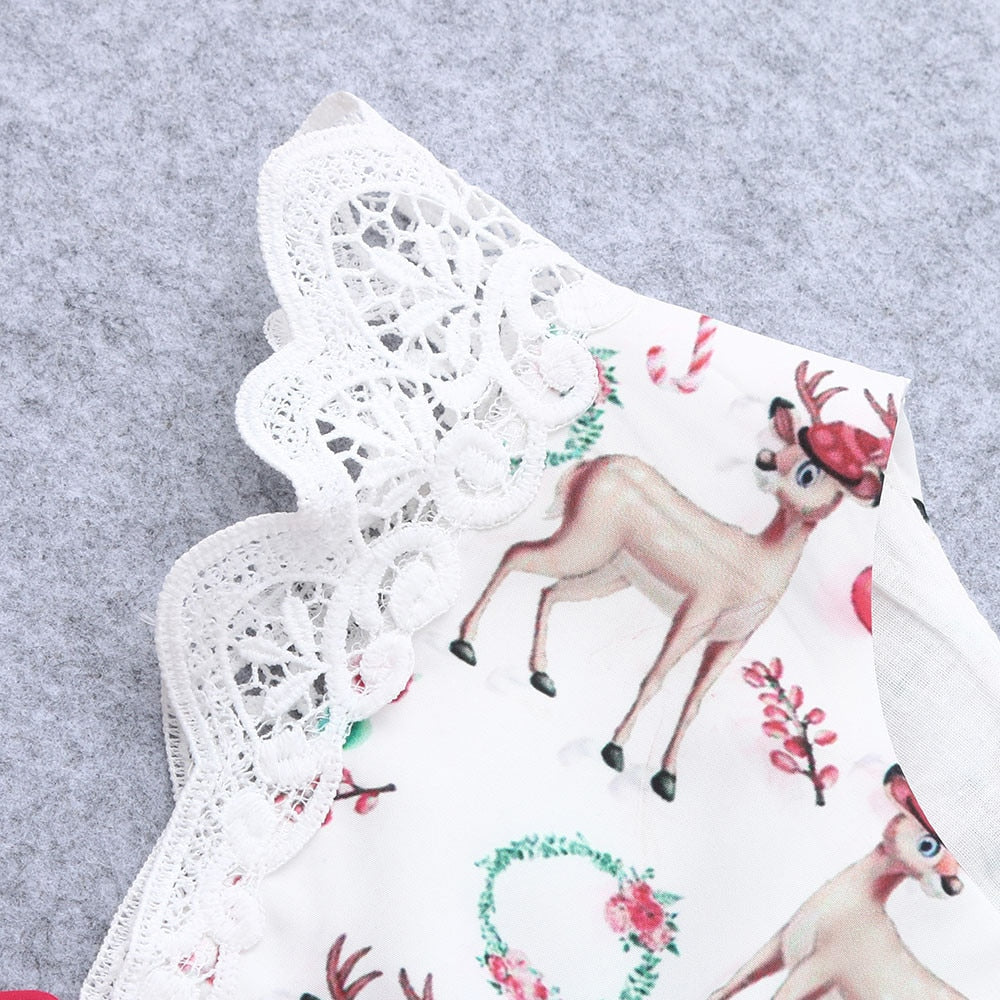 Christmas Deer & Lace Dress