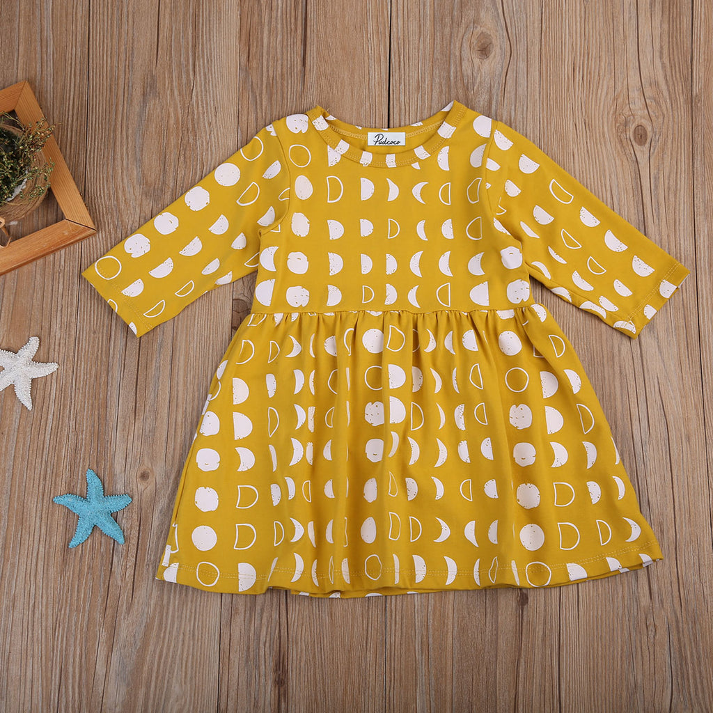 Phases Of The Moon Yellow Dress - Dresses - baby-petite