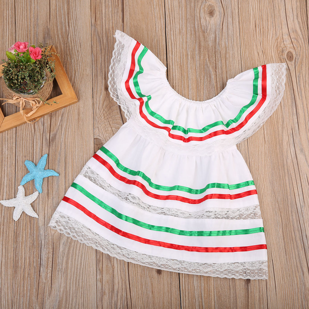Candy Fruit Striped White Ruffle Dress - Dresses - baby-petite