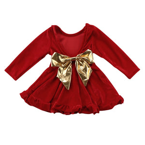 Red Velvet Golden Bow Long Sleeve Dress