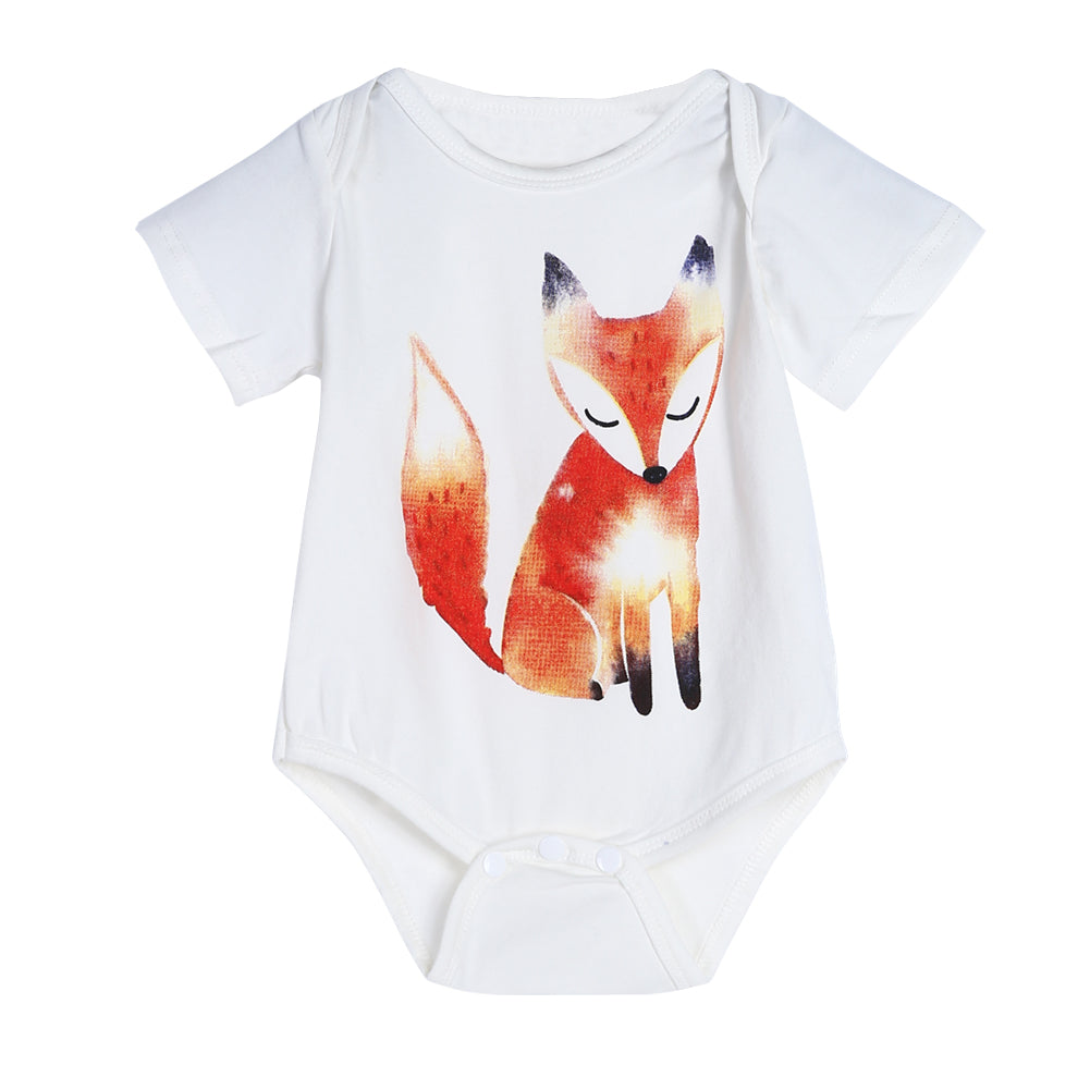 Calm Orange Fox Romper - Rompers - baby-petite