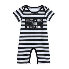 Been Inside For 9 Months Striped Romper