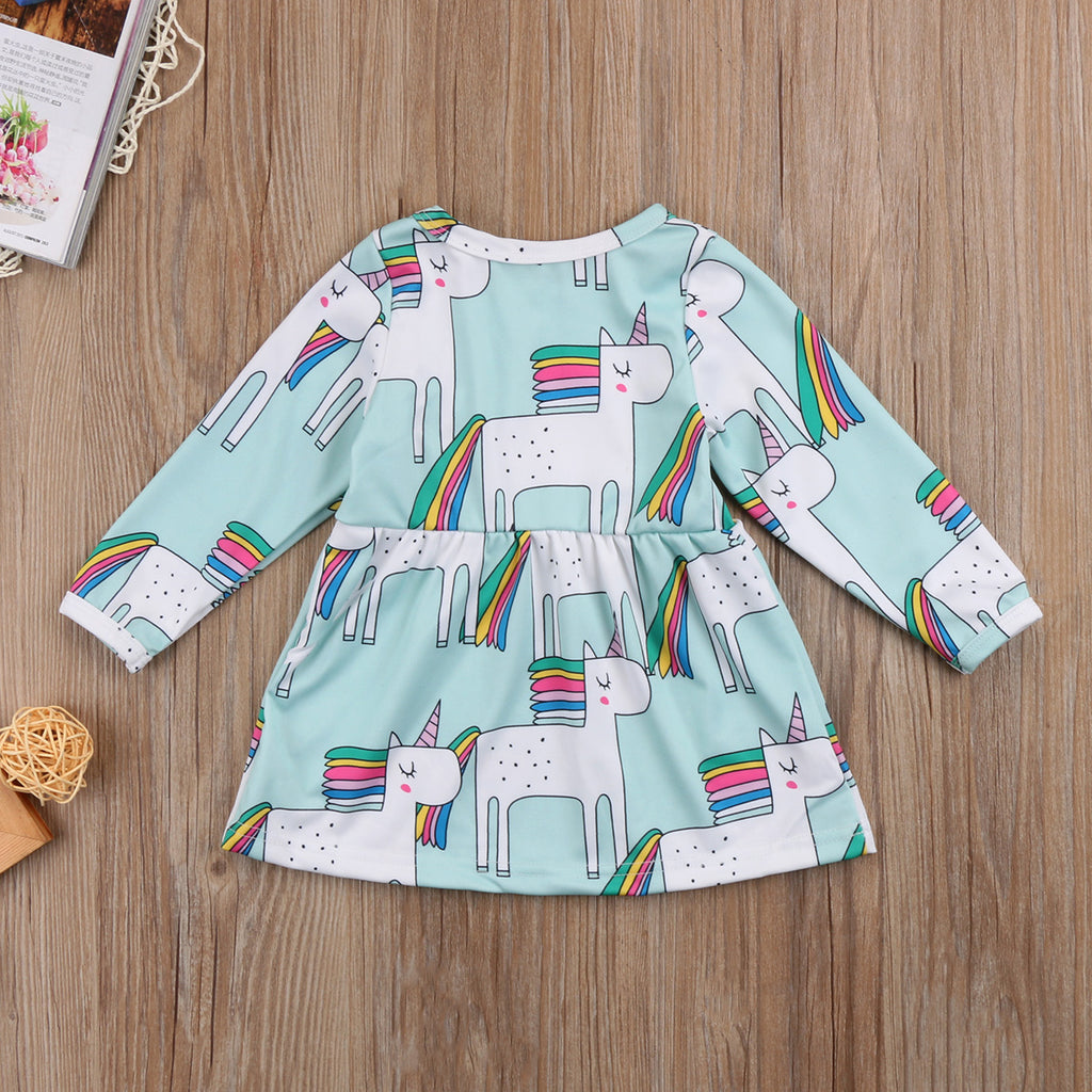 Unicorn Rainbow Green Dress - Dresses - baby-petite