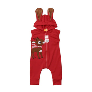 Red Deer Hooded Ear Romper