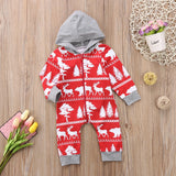 Aztec Moose & Deer Christmas Hooded Romper