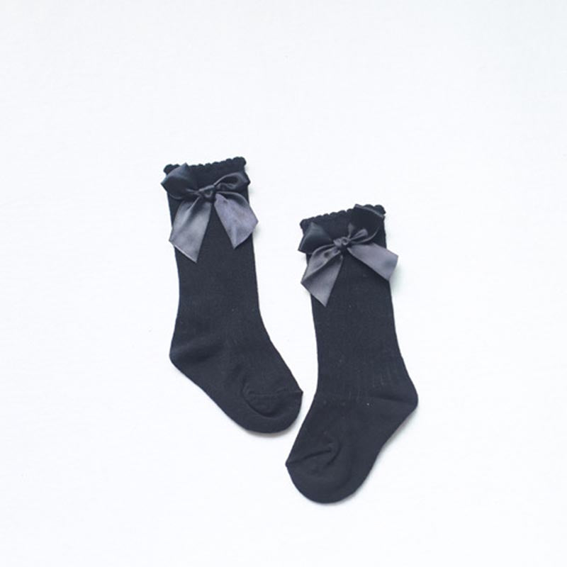 Satin Bow Tied Wool Socks - Socks - baby-petite