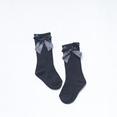 Satin Bow Tied Wool Socks