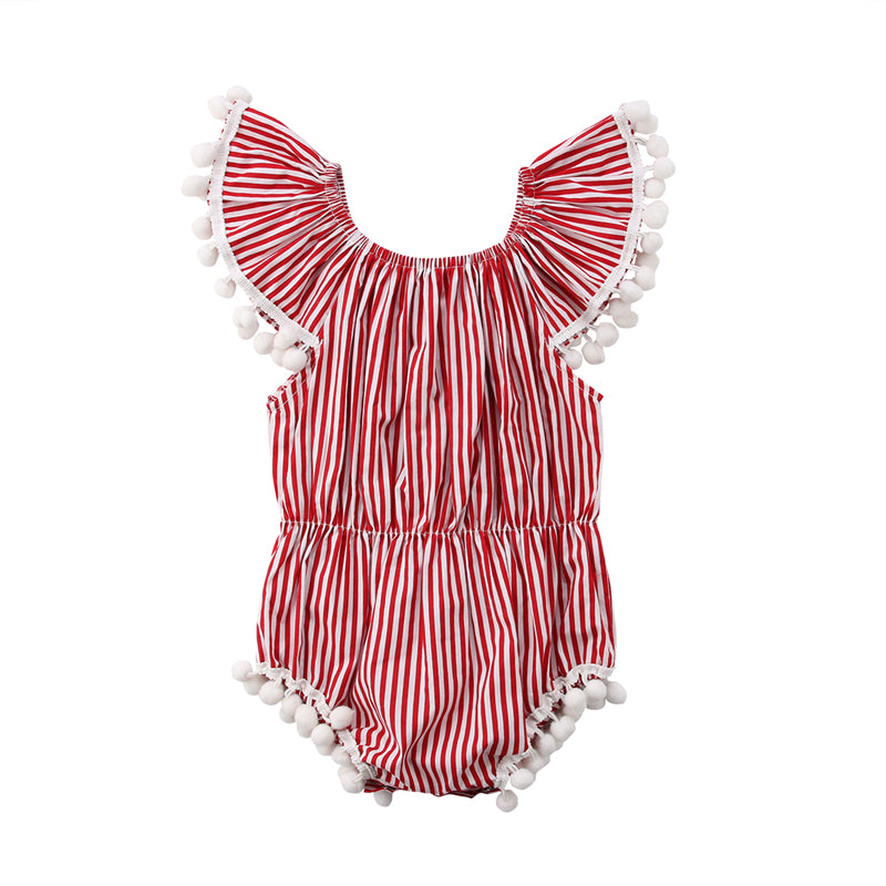 Striped Candy Cane Red Tassel Off Shoulder Romper - Rompers - baby-petite