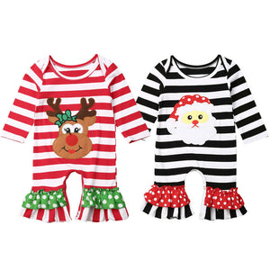 The Christmas Bandits Striped Bell Bottom Rompers