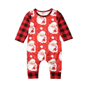 Santa Is Watching Plaid Romper