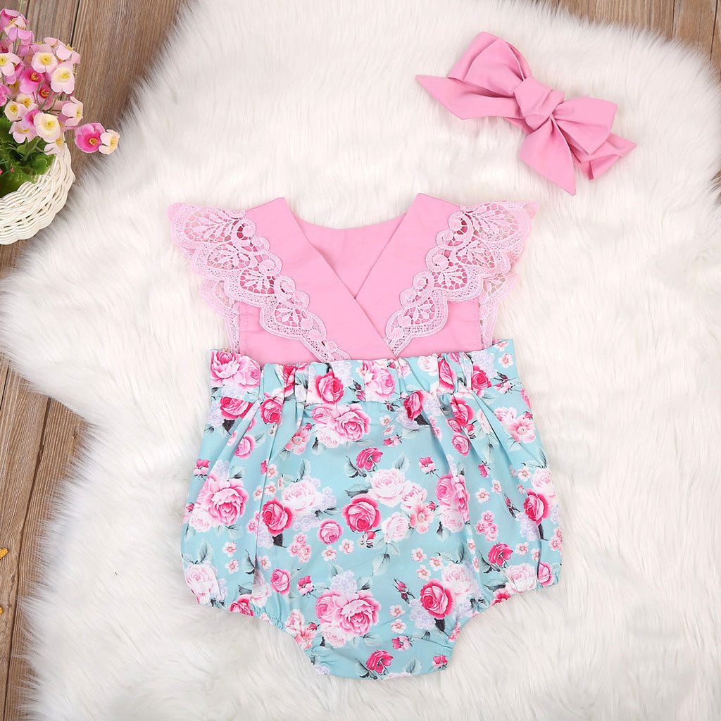 Pink Lovely Lace Roses Dress Romper - Kids Petite - Baby & Kids Clothing