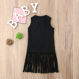 Black Lace Up Fringe Dress - Dresses - baby-petite
