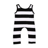 Striped Mime Sleeveless Romper - Rompers - baby-petite