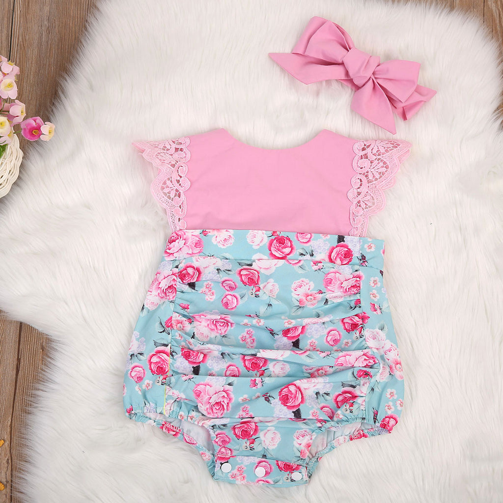 Pink Lovely Lace Roses Dress Romper - Rompers - baby-petite