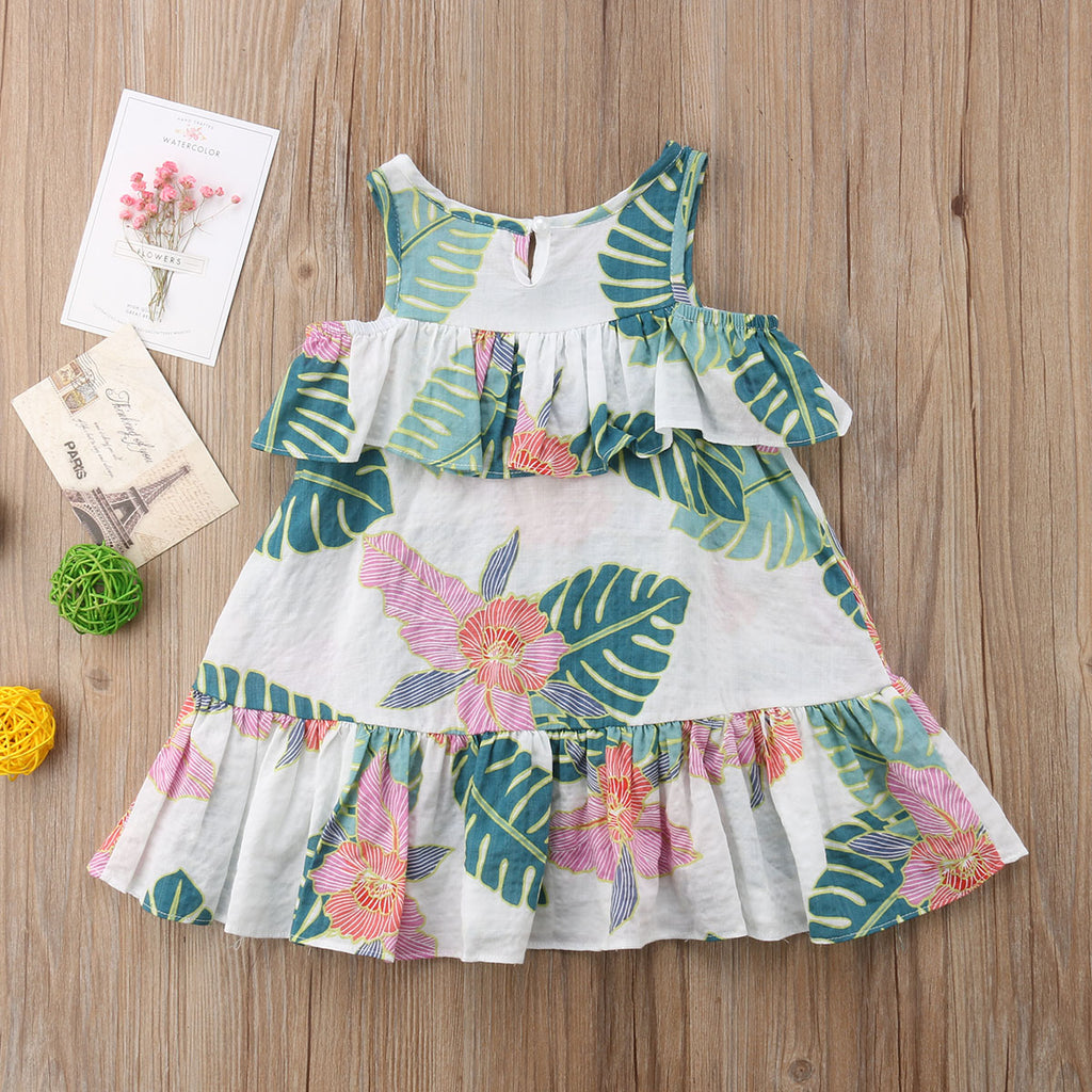 Tropical Summer Cold Shoulder Ruffle Dress - Dresses - baby-petite