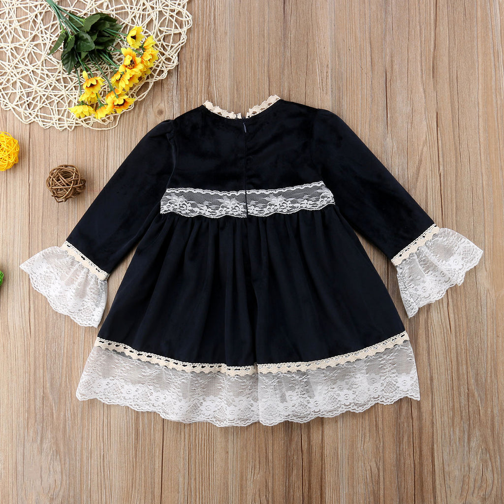 Black Formal Dinner Lace Bow Dress - Dresses - baby-petite