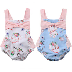 Floral Pig Bow Tied Romper