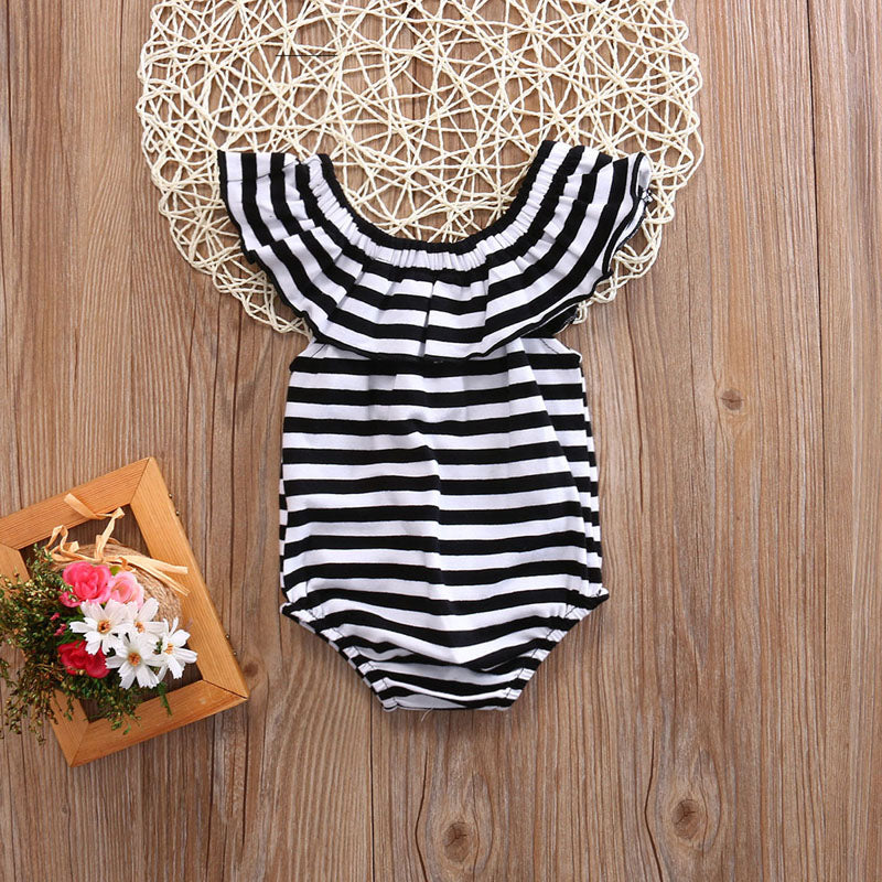 Striped Off Shoulder Glory Romper - Rompers - baby-petite