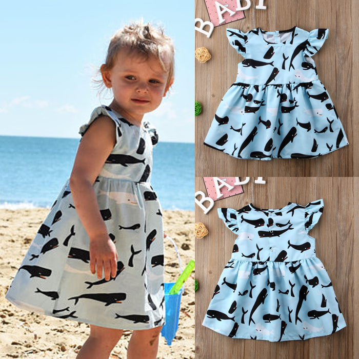 Blue School Of Whales Dress - Dresses - baby-petite