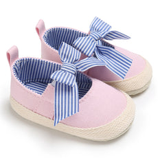 Princess Stroll Bow Tie Striped Shoes