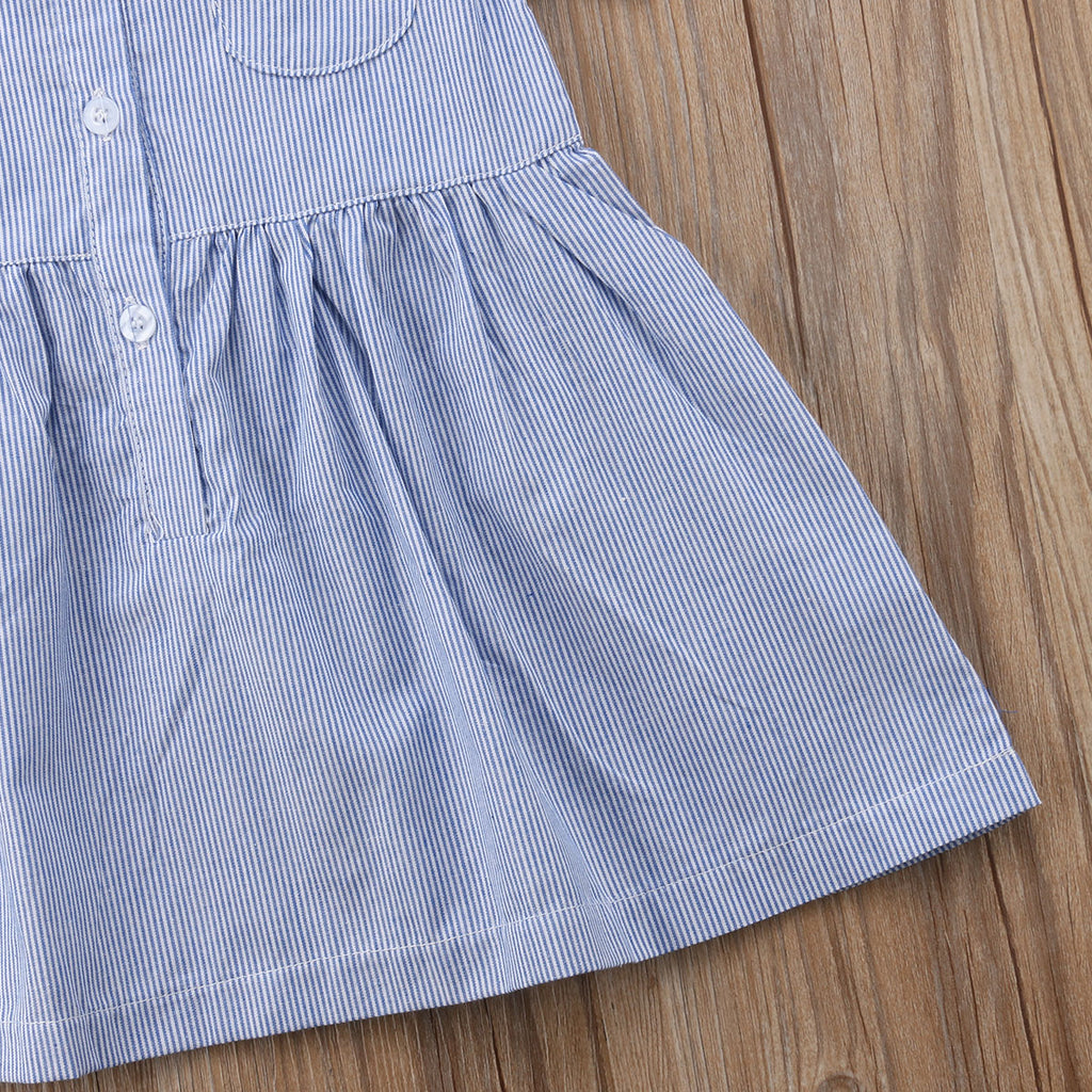 Striped Button Up Collar Dress - Dresses - baby-petite