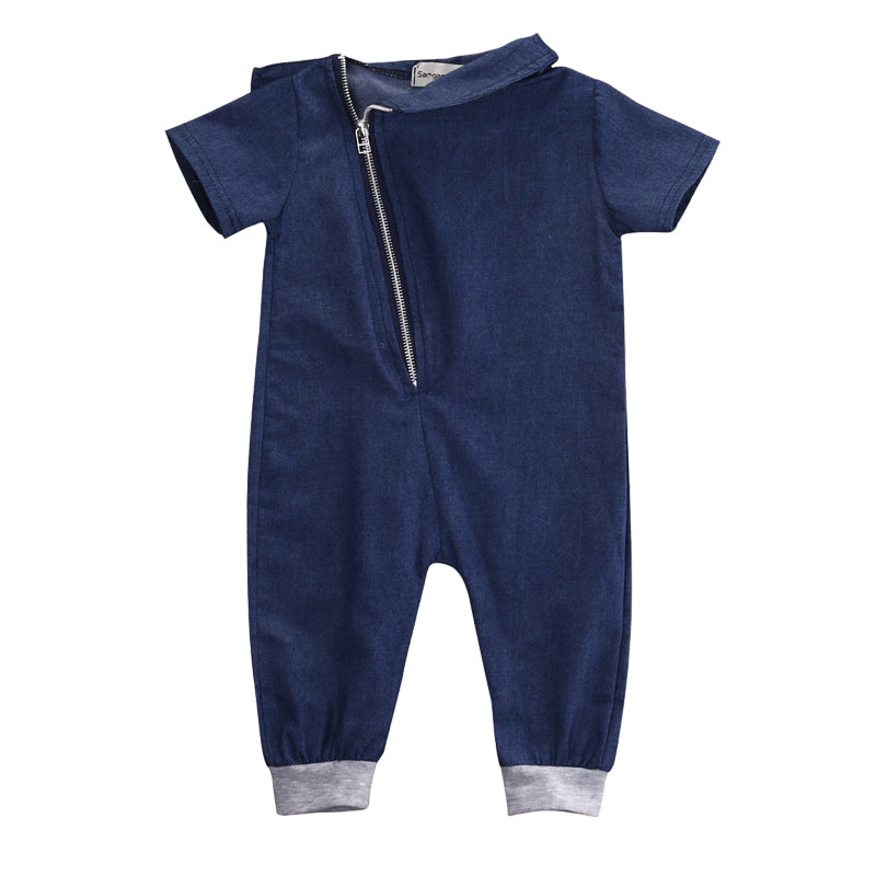 Blue Cotton Zip Up Romper - Rompers - baby-petite