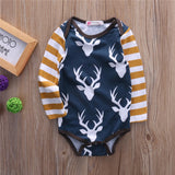 Striped Deer Long Sleeve romper - Rompers - baby-petite