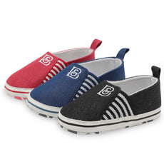 B Striped Baby Red Sneaker Shoes