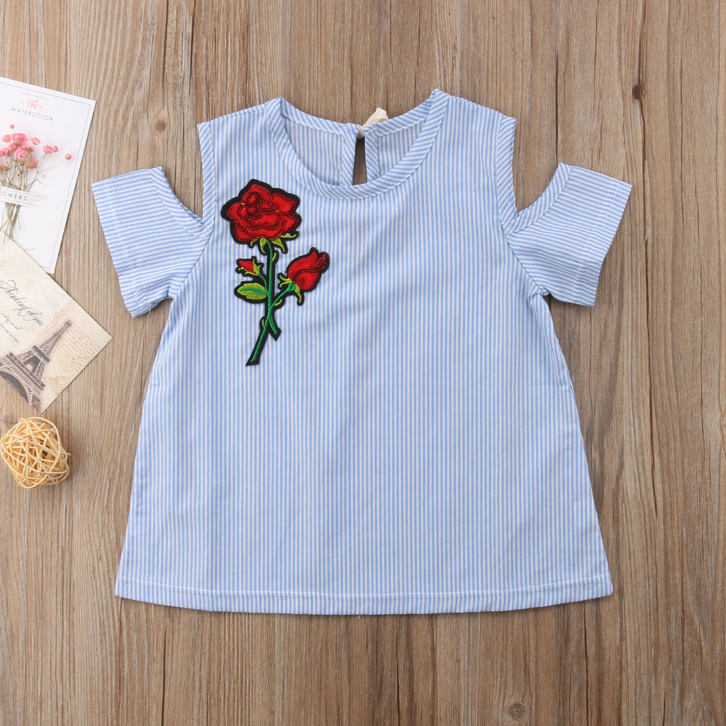 Rose Embroidered Cold Shoulder Baby Blue Striped Dress - Dresses - baby-petite