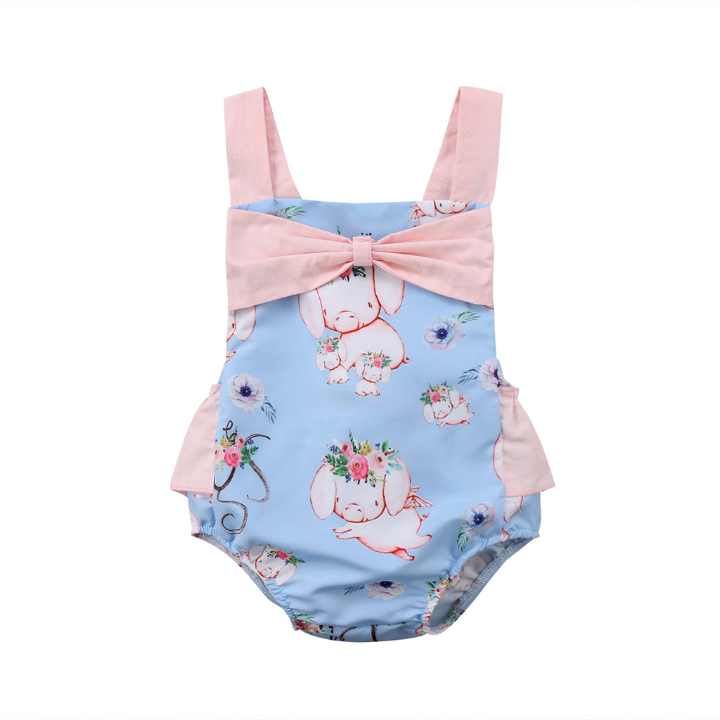 Floral Pig Bow Tied Romper - Rompers - baby-petite