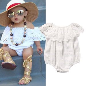 Powder White Sweety Ruffle Romper - Kids Petite - Baby & Kids Clothing